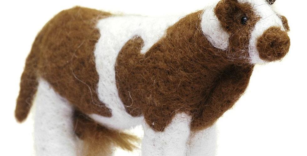 Bull: Felted Alpaca Sculpture
