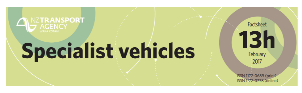 NZTA Factsheet 13h Specialist Vehicles