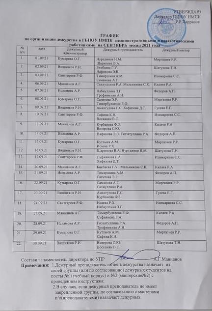 график по организации дежурства в ГБПОУ НМПК