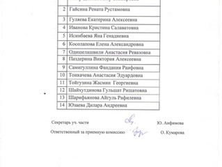 Списки поступивших абитуриентов по группам