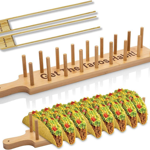 Bamboo Taco Holder Tray with 2 Tongs - Holds 8 Soft or Hard Shell