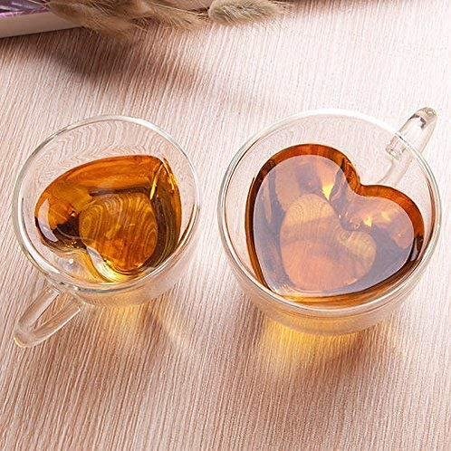 Mixed with Love Glass Mugs with Stainless Steel Heart Spoons.