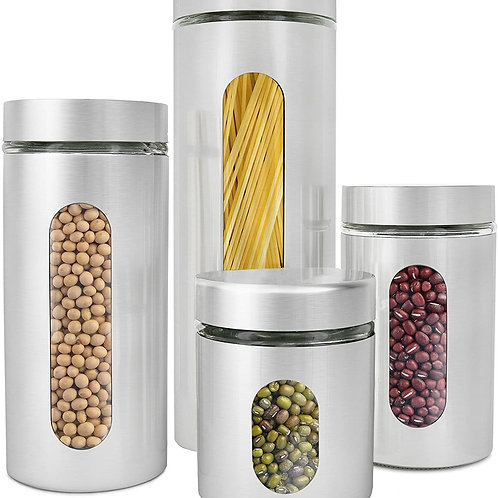 4 Piece Brushed Stainless Steel and Glass Canisters with Window, Silver