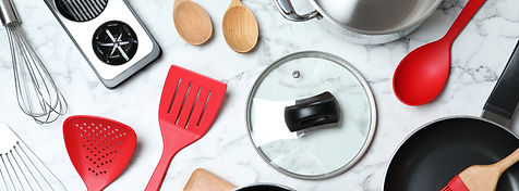 Flat lay composition with clean cookware