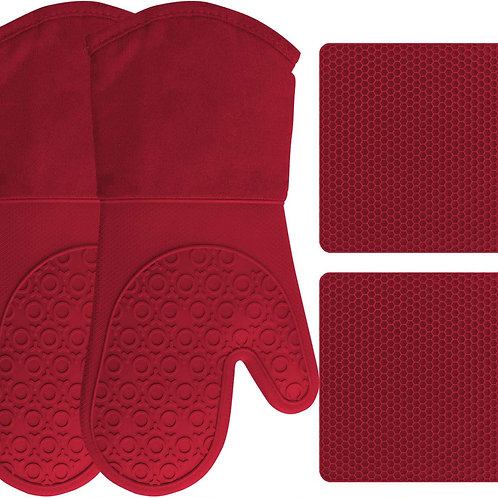 Silicone Oven Mitts and Pot Holders, 4-Piece Set, Heavy Duty Cooking Gloves.
