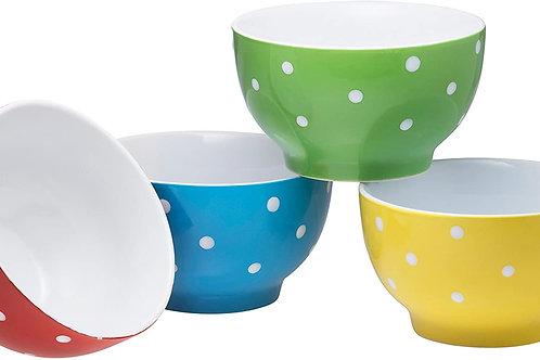 20 oz. Salad, Pasta, Fruit, bowls and 6pc Mugs (polka dot) set.