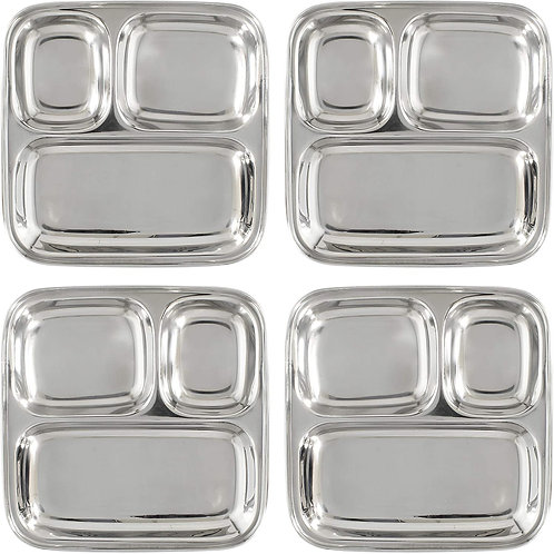 Stainless Steel Divided Plates/Compartment Trays (4-Pack); 9.8 x 8.1 Inches