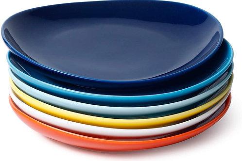 Porcelain Dessert or Salad Plates - 7.8 Inch - Set of 6, Multicolor