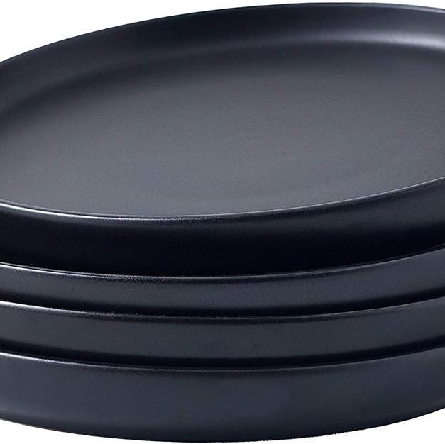 """4pc 8"""" Matte black plates"""