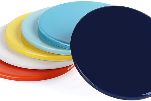 Porcelain Coasters for Your Drinks with Cork Back, Set of 6, Hot Assorted Colors
