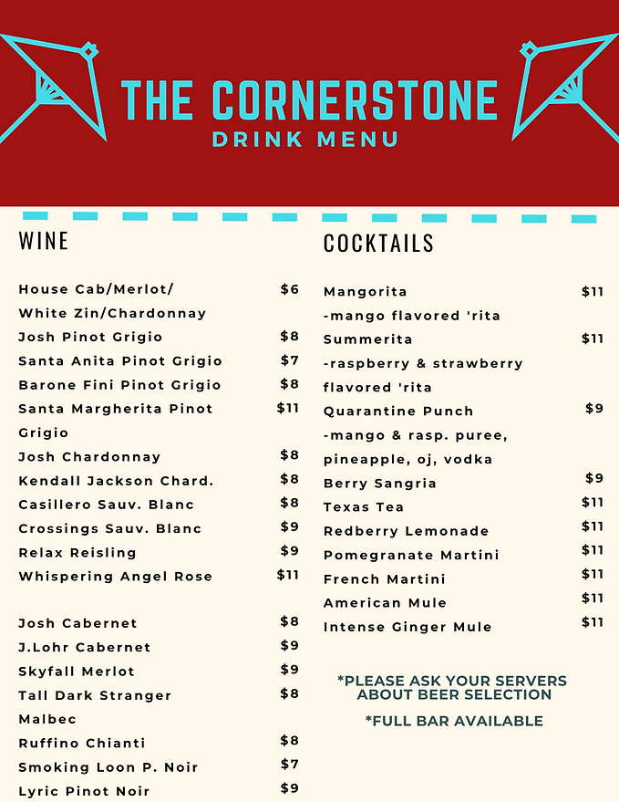 The Cornerstone Drink Menu