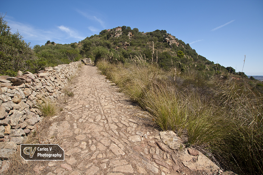 The Roman road that leads to the Castle of Santa Àgueda, which was built by the Arabs over an ancient Roman castra.  © Carlos Vermeersch