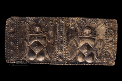 Silver plaque with beetles