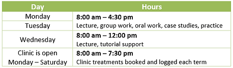 Sample Timetable (CIV Massage Therapy).P