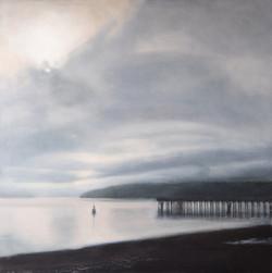 "Layered Dawn 36 x 36"" oil on canvas"
