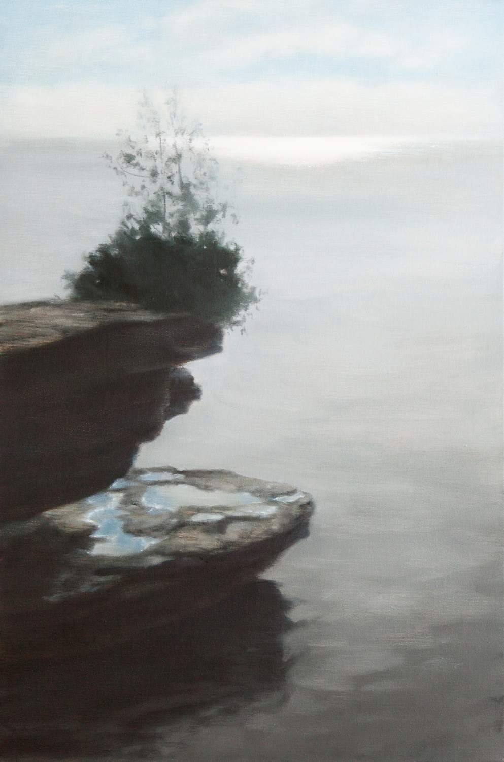 "Rock, Water, Tree 36 x 24"" oil"