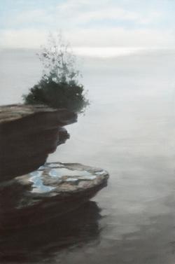 """Rock, Water, Tree 36 x 24"""" oil"""