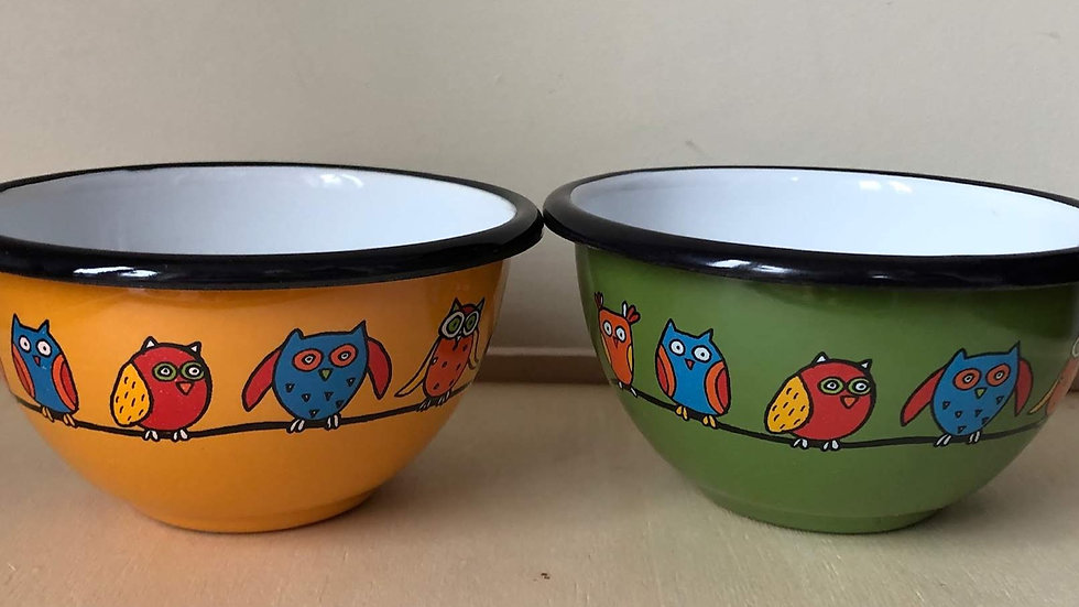 Small enamel bowl - Owl