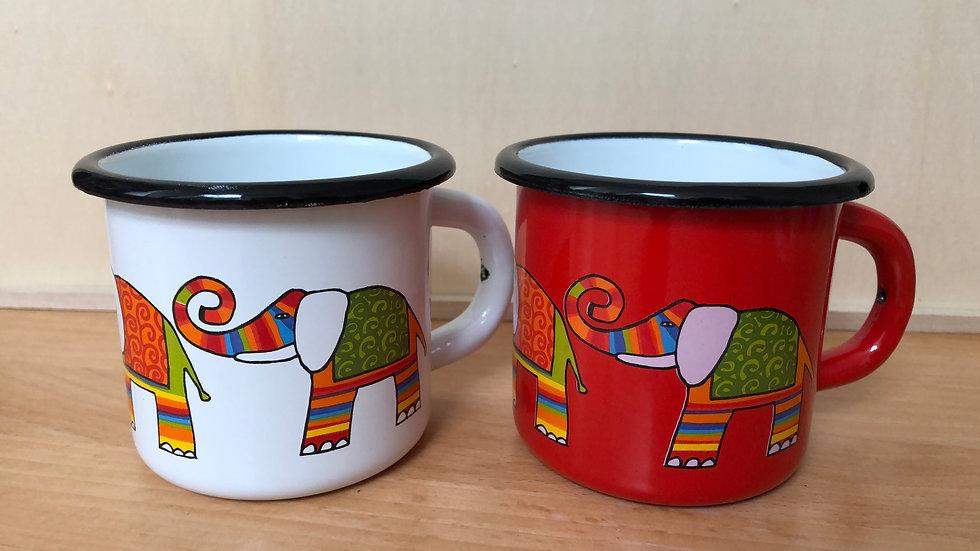 Enamel Mug 7cm diameter Elephant