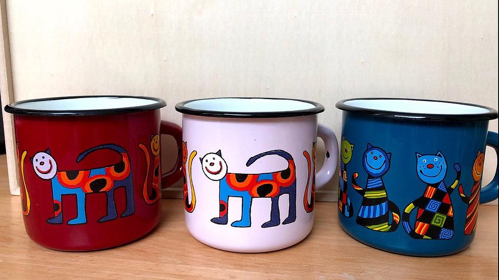 Enamel Mug, 350 ml capacity, Cat