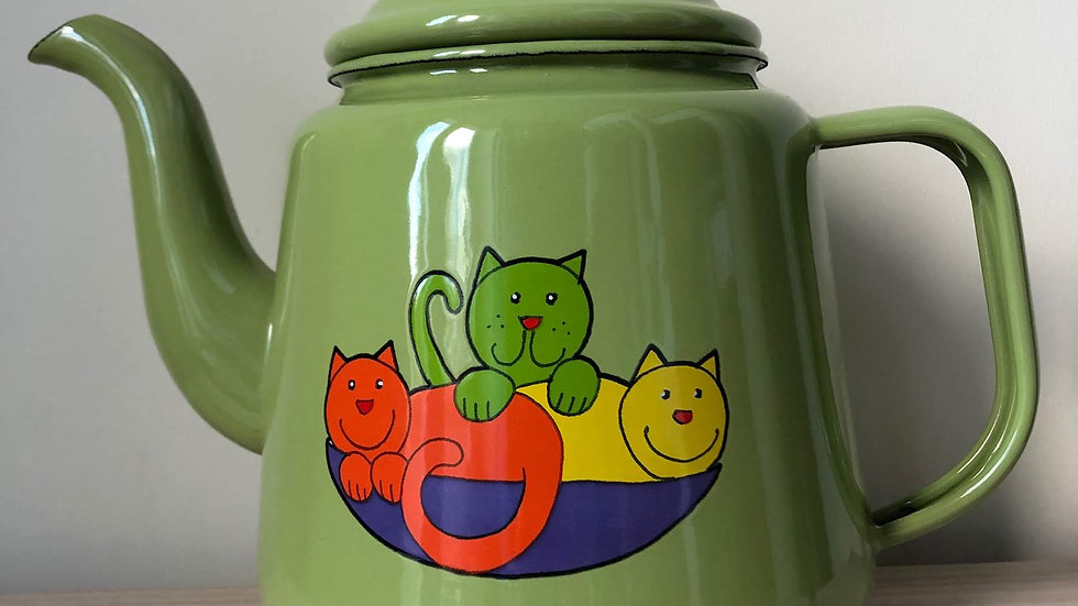 Enamel Tea Pot - Cat