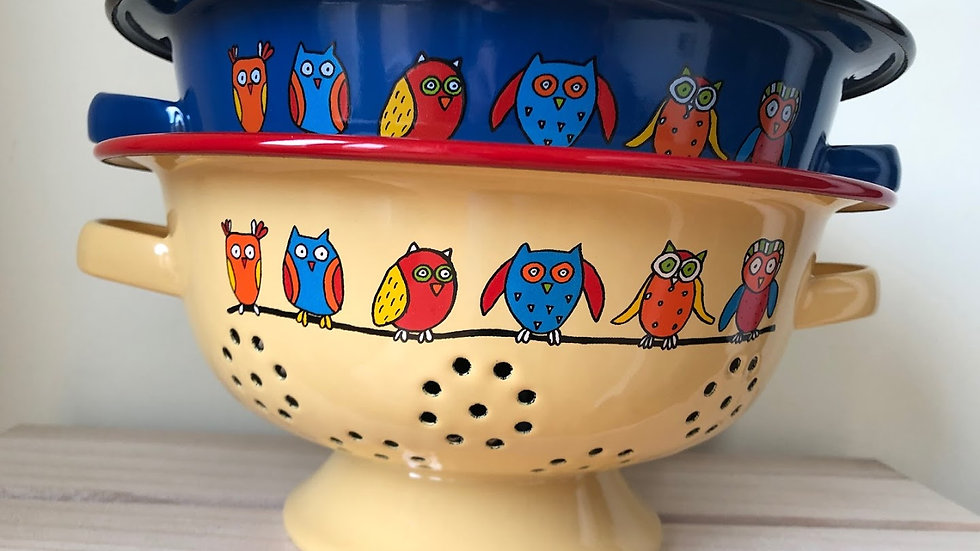 Enamel colander - Owl