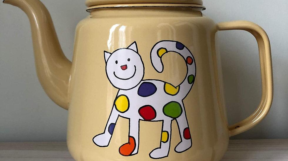 Enamel Tea Pot -Cat Design