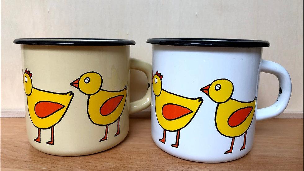 Enamel Mug 8cm diameter Bird