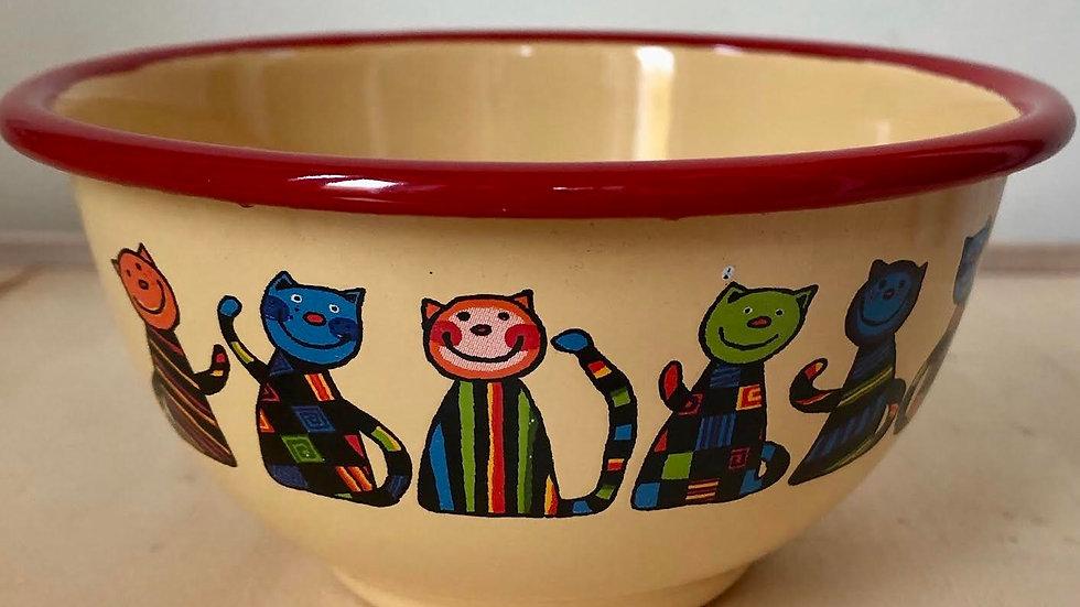 Yellow Enamel Bowl, 450 ml, Cat