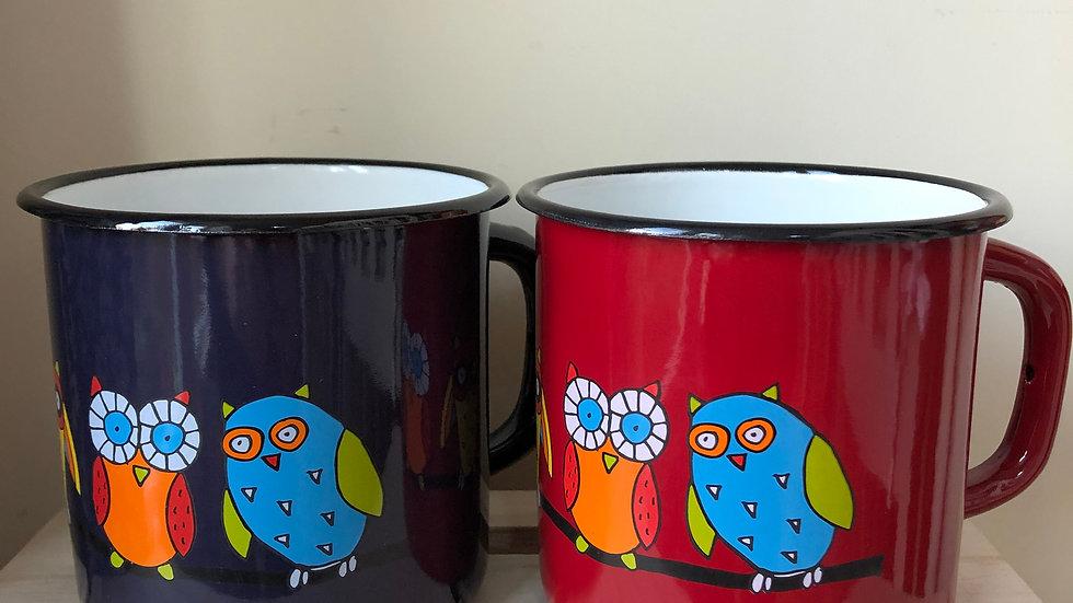 Enamel mug - Owl 1 litre