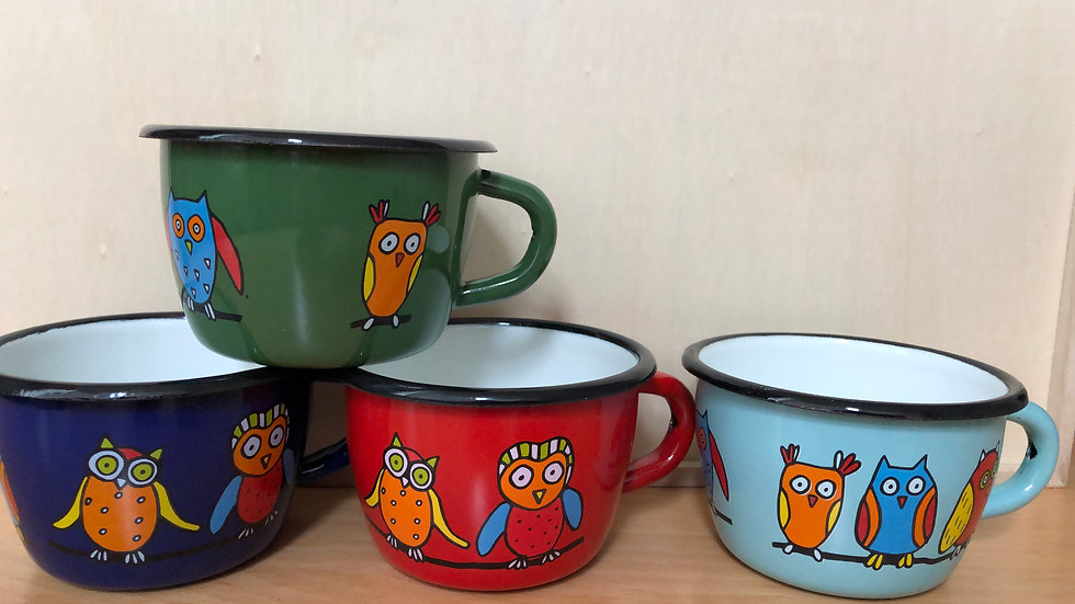 Enamel Conical Mug, 200 ml capacity, Owl