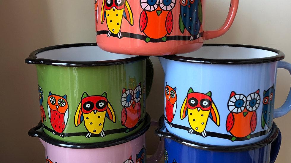 Enamel jug - Owl