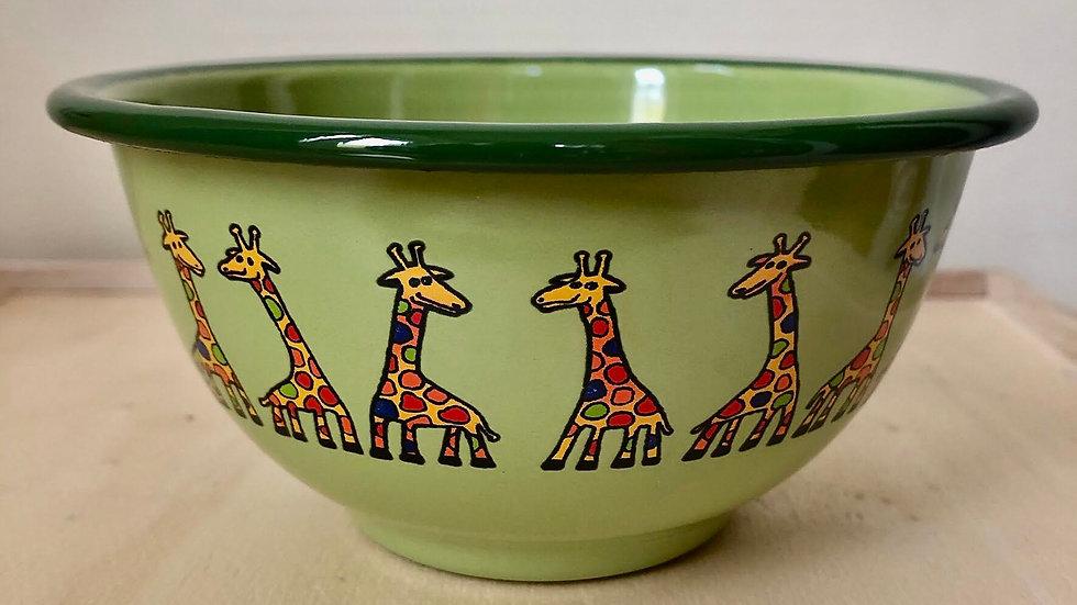 Green Enamel bowl, 450 ml, Giraffe