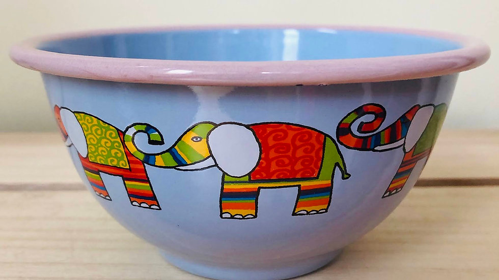 Blue Enamel Bowl, 450 ml, Elephant