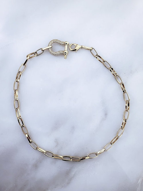 Pave Shackle Necklace