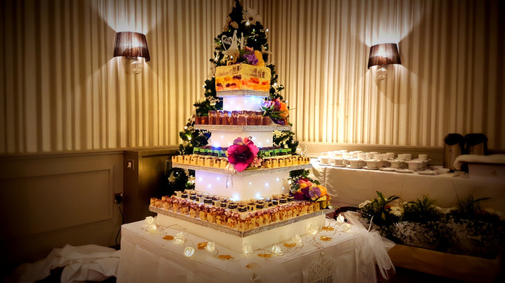 wedding cake cork fudge tower