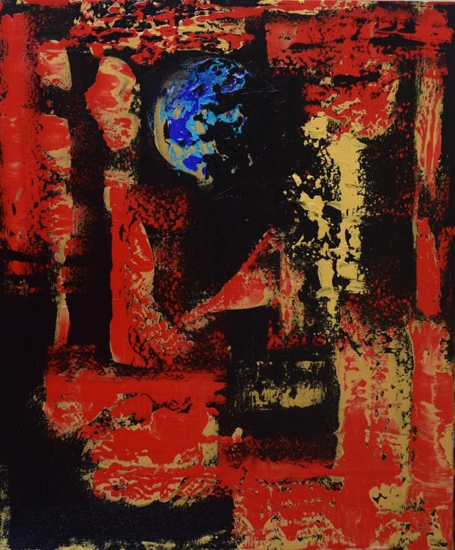 Blue Moon: Red Landscape 60cm(h) x 50cm(w)