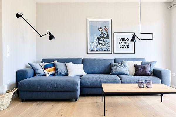 Bauberatung, Inneneinrichtung, Schöner Wohnen, Einrichtungsberatung, Wohnkonzept, Sofa, Wohnzimmer, Reihenhaus, Blau