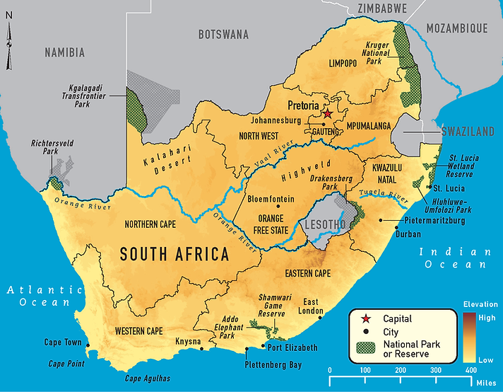Map of Nudist Resorts in South Africawith links