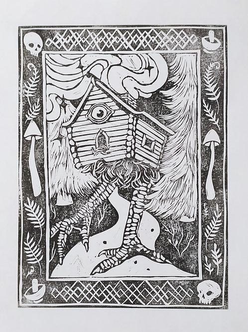 Baba Yaga Lino Print