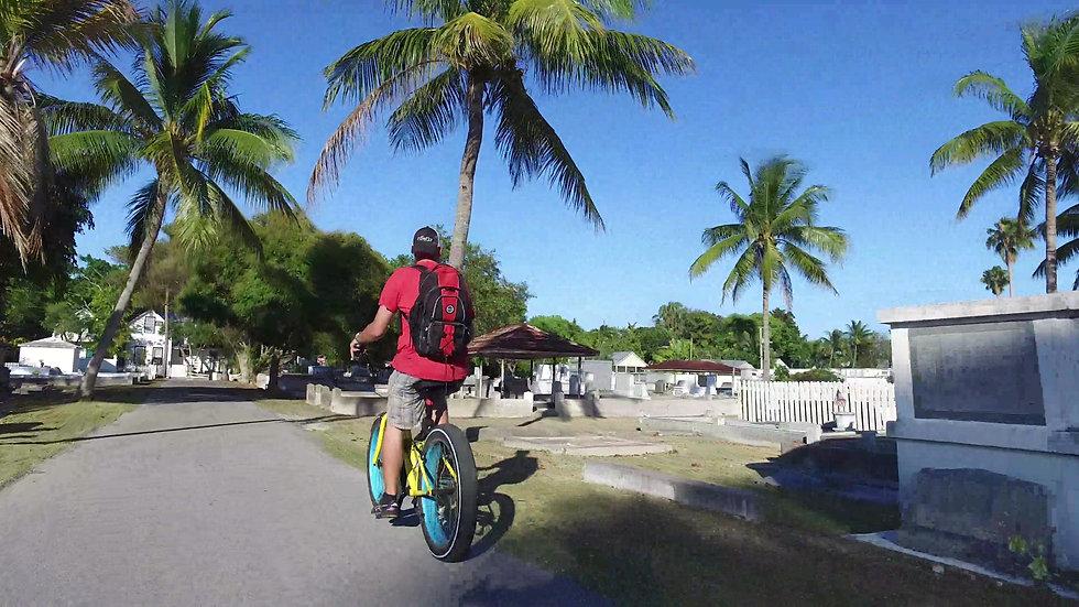 Biking Key West Cemetery Stock Video