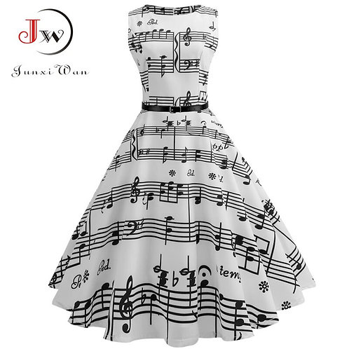 Vintage Music Note Print Pleated Dress