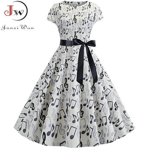 Summer Music Note Print Dress