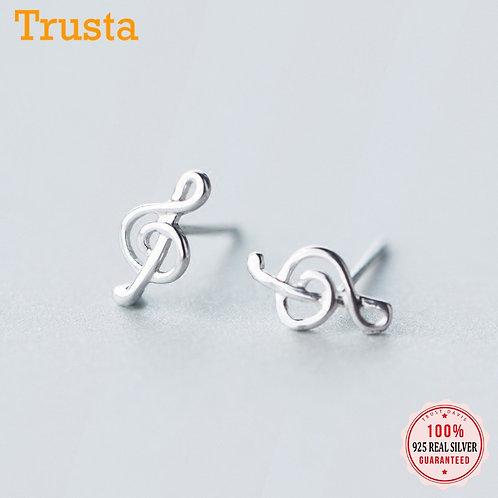 Sterling Silver 925 Treble Clef Earrings