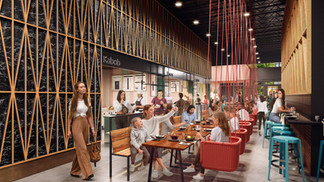 Architectural Render for Food Hall in Miami