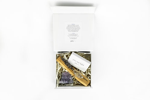 clarity kit - palo santo bundle, matches, & amethyst geode
