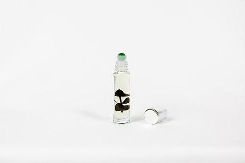 breathe roller - eucalyptus essential oil blend & jade gemstone