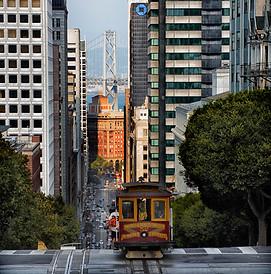 Van Ness Tram and Bay Bridge - San Francisco