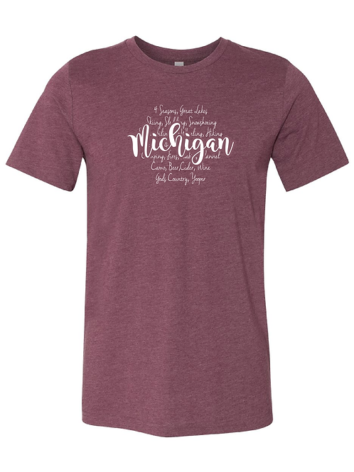 Heathered-Maroon Michigan Words tee
