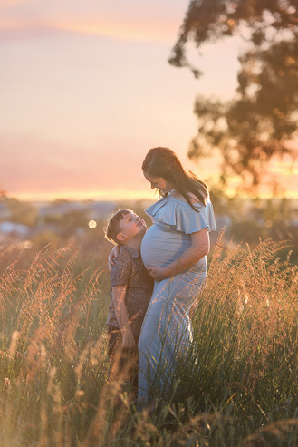 mother and son maternity photo